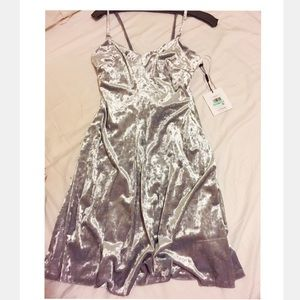 NWT Calvin Klein Silver Crushed Velvet Dress